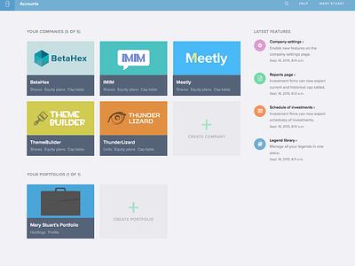 eShares accounts page announcements logos navigation ui ux dashboard fintech