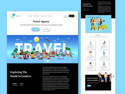 Travel Agency Landing Page UI Design ui tour marketing homepage vector logo dailyui templates themes landing page new pro web travel agency travel website uiux illustration graphic design creative design