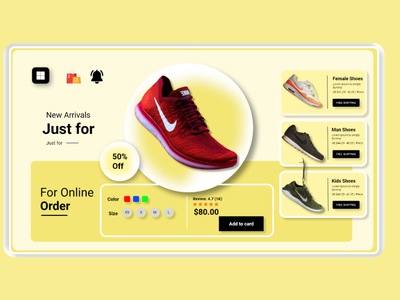 Shoes Store Landing Page UI design simple uiux website templates themes inspiration new colorfull shoes nike buy market shopping store ui landing page graphic design design dailyui creative