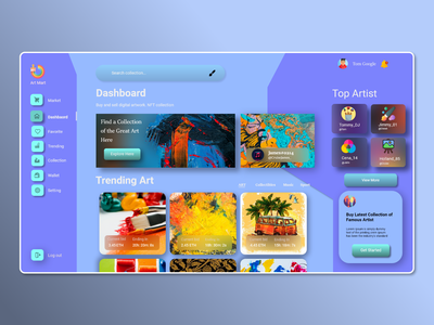 NFT Marketplace Dashboard xd template theme modern dashboard digital colorfull artist art nft marketplace logo illustration ui new landing page graphic design design dailyui creative