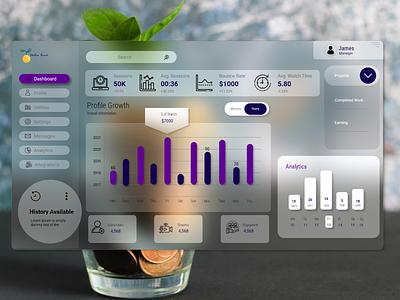 Finance Dashboard UI Design themes modern dashboard graph banking transaction money template uiux web design glassmorphism landing page graphic design dailyui creative