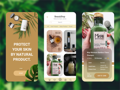 E-Commerce Natural Product App theme buy application user interface modern ios android mobile sale beauty natural product marketing e-commerce app new ui graphic design dailyui creative