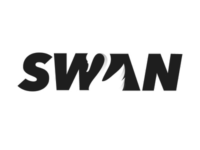 Swan Logotype Rebound vector branding art typography logo brand flat design