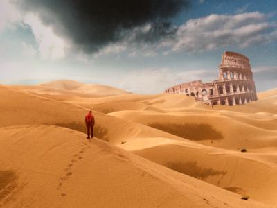Ruins concept art landscape futuristic illustration collage everyday photoshop