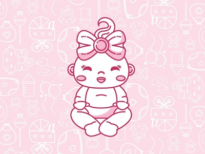 Beautiful Baby Girl line drawing baby character illustrated baby baby shower its a girl baby girl pink baby cute patterns illustration