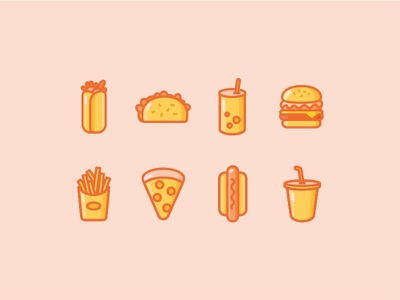 Fast Food Icons milkshake hotdog pizza fries burrito soda pop taco burger illustration icons food
