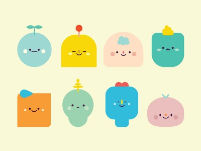 Characters shape vector cute characters colour illustration