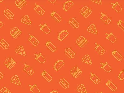 Fast Food Pattern vector orange food yellow hot dog pizza drink burrito taco burger illustration pattern