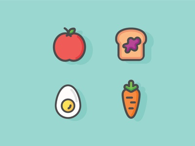 Another breakfast  colour illustration icon carrot egg toast apple food