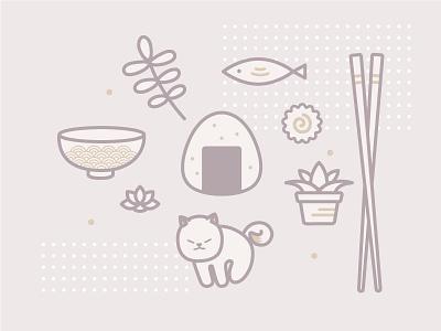 Japanese things  fish cake bowl onigiri cat plants chopsticks fish japan