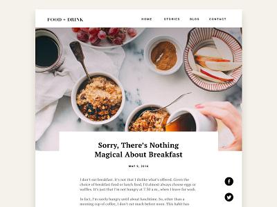 Breakfast Blog web minimal breakfast food read landing page blog