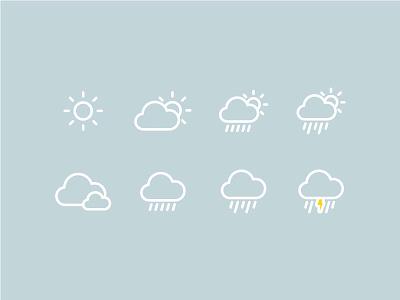 Rain or Shine Icons cloud rain sun round illustration icons icon weather