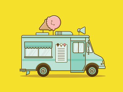 I scream for Ice cream! truck food truck ice cream truck ice cream dessert icons icon illustration