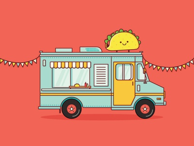 It's Taco Tuesday! 🎉 food colour food truck taco truck illustration icon truck taco