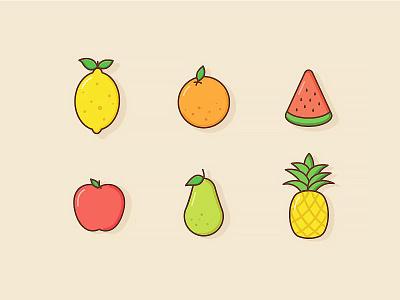 Fruity Feelingz pineapple pear apple watermelon lemon orange colour illustration icon food fruit