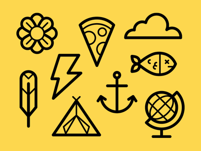 Easy like some Sunday working... icon set symbol graphic fish globe pizza lightening flower feather tent anchor cloud