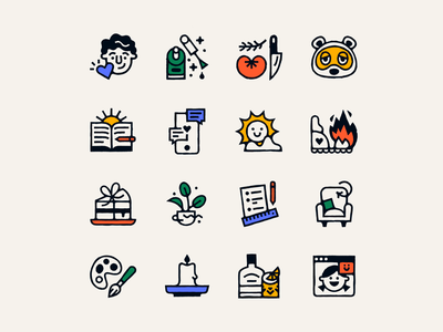 Lockdown icons painting video call cocktail whiskey plants cake sunshine morning pages animal crossing cooking nail art boyfriend texture icon design illustration lineart icon