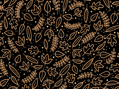 Those Autumnal Vibes autumn fall leaf gold black pattern repeat wallpaper iphone