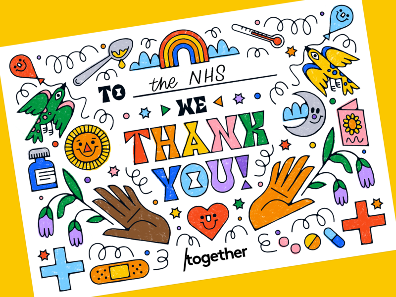 We thank you, NHS! art line illustration love rainbow coloring colouring birthday party birthday medical nurse doctor hospital healthcare health