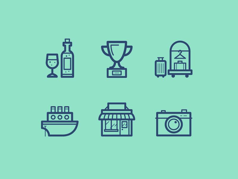 Condé Nast Traveler - Icons icon set vector illustration travel bar award hotel ship shop camera