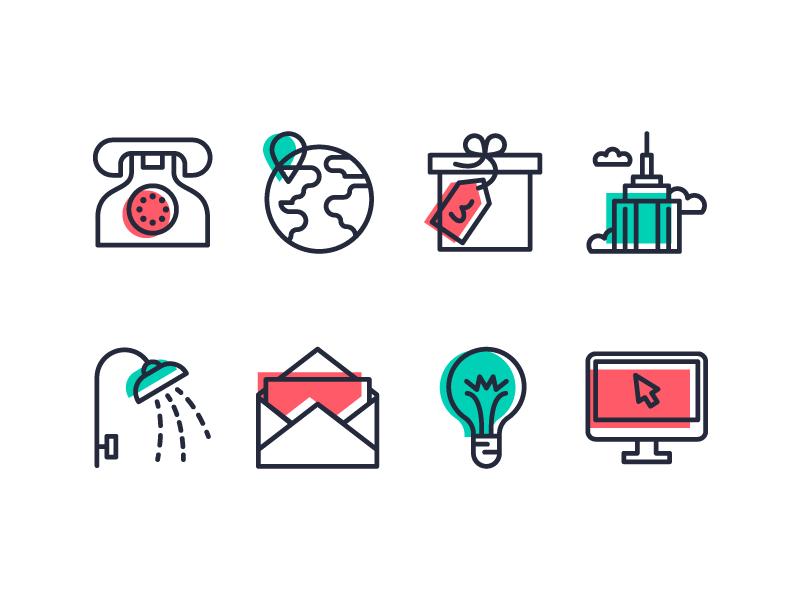 ClassPass line art vector illustration design symbol icon set iconography