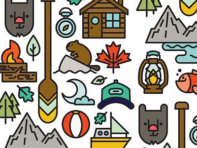 Canadian Summer Postcard summer canada pattern icon vector illustration