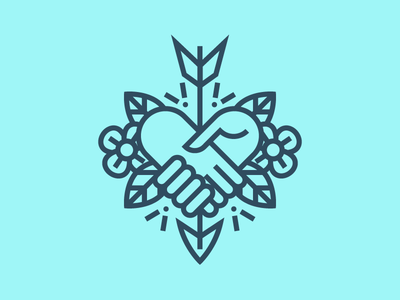 That family kind of friendship! icon vector handshake hands arrow heart floral tattoo caring family friendship love