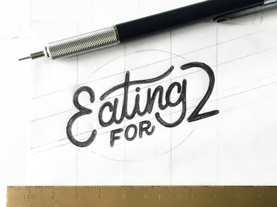 Eating For 2 type mono weight sketch hand drawn design branding logo lettering