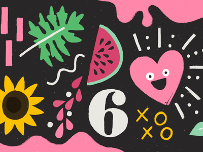 Things I Like textured floral personality character illustration