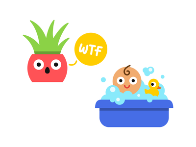 Stickers wtf plant bath baby happy fun vector illustration stickers