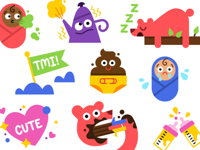 Glow Stickers parenting mother baby spot illustrations fun cute design character illustration