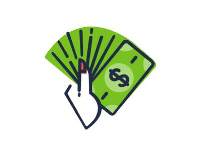 Boss Lady icon line texture illustration woman money dollar