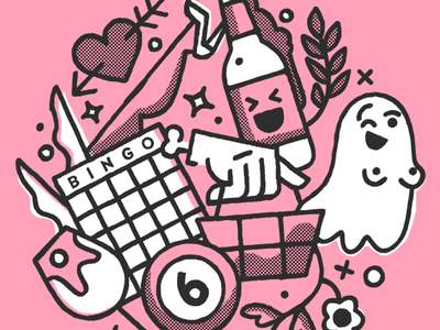 Shindig party booze fern ghost cute weird fun texture line event illustration