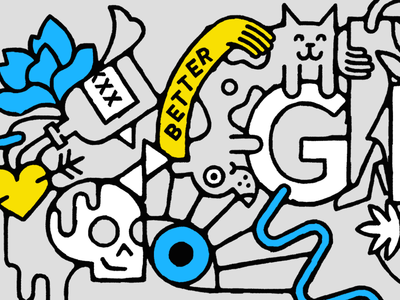 Better Together Alt hug skull dog cat better geometric icon textured line illustration