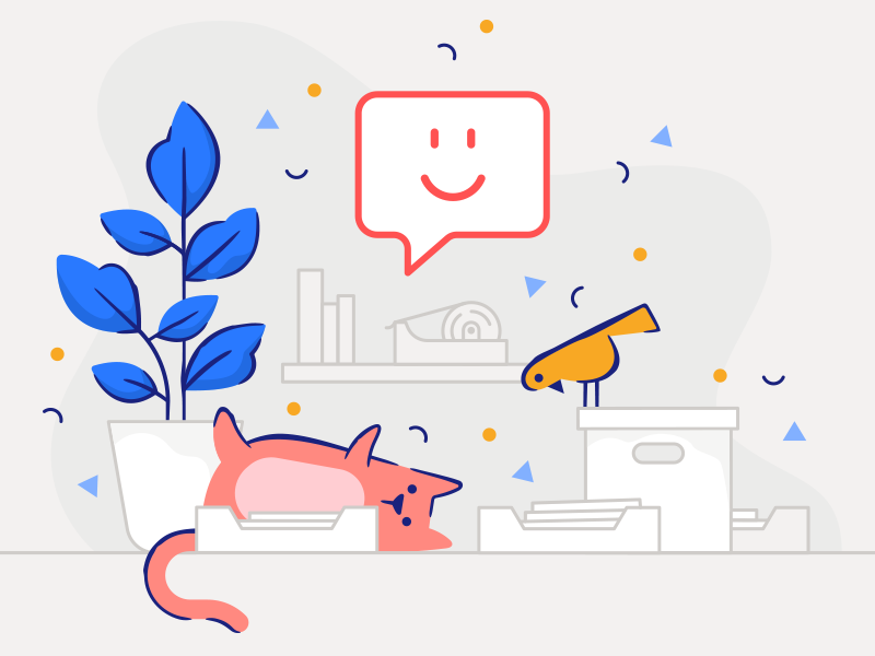 Ask Spoke bird cat plant office character illustration brand