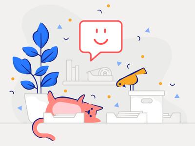 Ask Spoke bird cat plant office character illustration brand