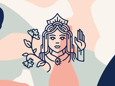 The Goldrunner Gal tarot crown queen woman line vector branding illustration