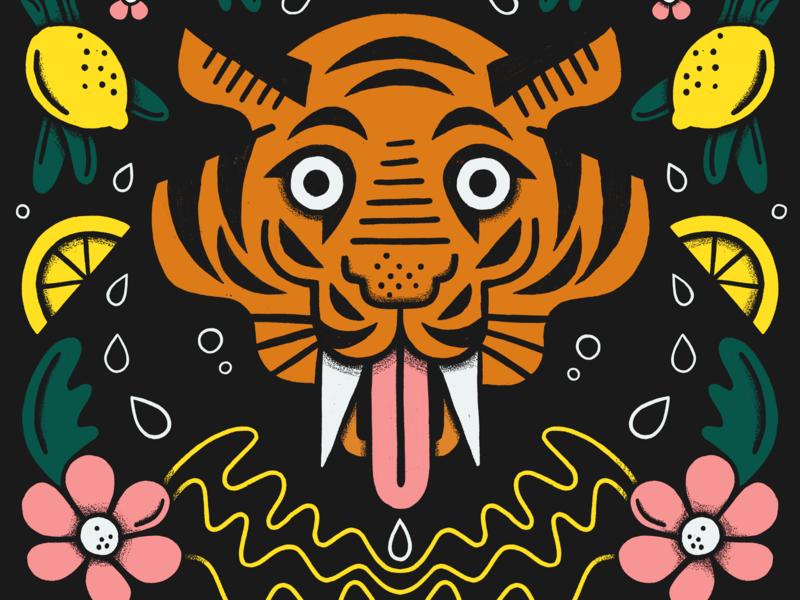 When life gives you lemons, get fierce as hell botanical flowers lemon illustration tiger