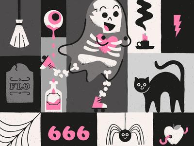 Halloween Flo Returns gritty illustration texture undead grave spells spider cat creepy spooky ghost halloween
