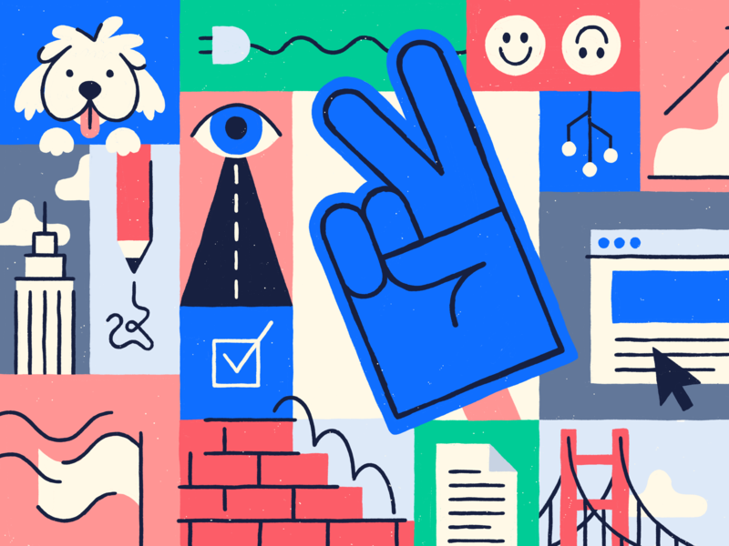 Product Engineering At AngelList Talent puppy teamwork blog editorial product sf nyc grid bold line graphic illustration