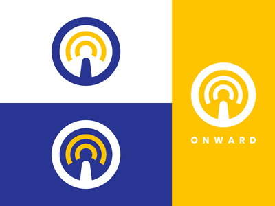 Onward Logo Branding - Driverless Car Logo design blue yellow branding concept brand identity dribbble vector flat dailylogochallenge self driving driverless car onward logodesign logo symbol monogram