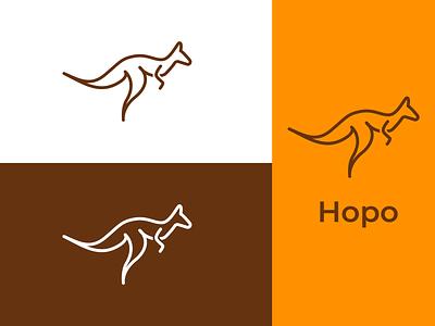 Hopo Logo Branding simple stroke minimal flat vector design logochallenge animal logodesign dailylogo dailylogochallenge brand identity branding logo design kangaroo logo hopo