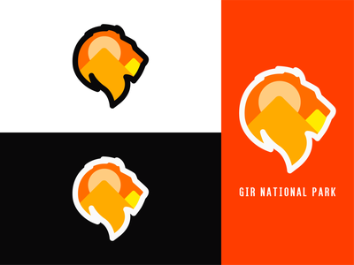 Gir National Park Logo Branding branding design gir national park logo logo design branding brand identity dailylogo dailylogochallenge lion logochallenge design simple logo vector flat simple design minimal stroke simple