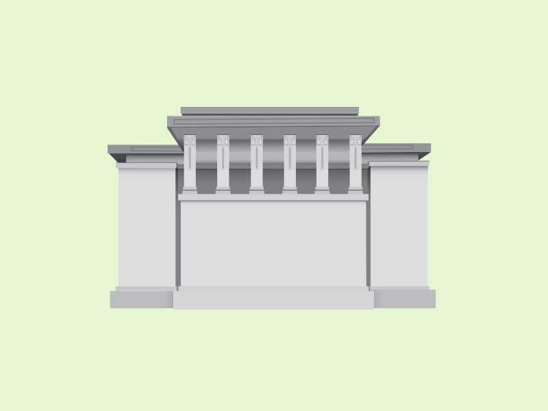 Unity Temple architecture flat illustration frank lloyd wright vector illustration