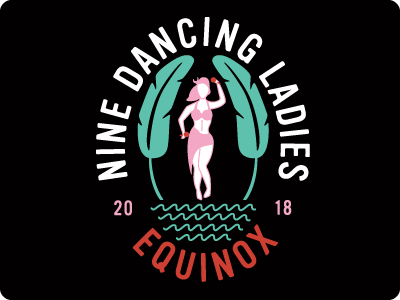 Nine Dancing Ladies Logo tropical palette girls trip club logo illustration dancing water equinox tropical logo cruise