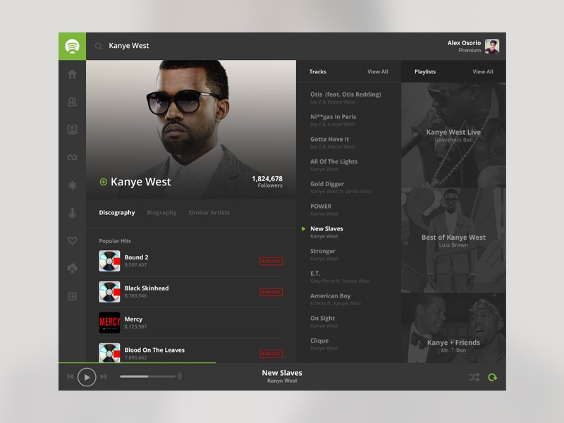 Spotify Flat Concept spotify flat concept redesign simple music player playlists tracks kanye west