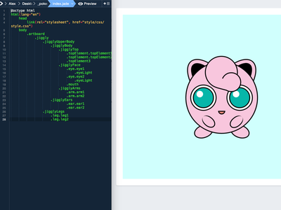 Jigglypuff CSS html5 html css3 cute pink pokemon jigglypuff scss sass animation illustration css