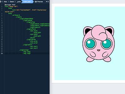 Jigglypuff CSS html5 html css3 cute pink pokemon jigglypuff scss sass animation illustration css