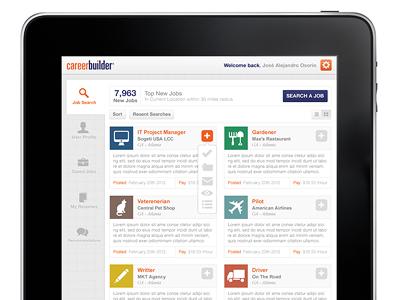 CareerBuilder iPad UI