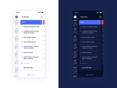 To-Do List - Light vs Dark Mode dark ui light ui dark light to-do list to-do ux ui mobile ui app mobile